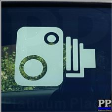 1 x Car Camera Window Logo-Cut Vinyl Sticker-In Car CCTV,Speed,Security,Safety Sign 150x125mm